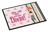 Caroline's Treasures Ballet Dance Stripes Red Hair Doormat, 18 H x 27 W'', Multicolor