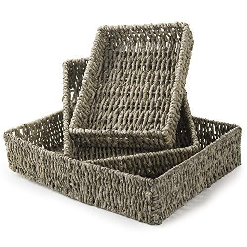 MyGift Woven Nesting Multipurpose Storage Baskets, Rectangular Corn Husk Organizer Bins, Set of 3