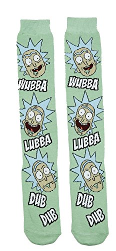 Rick and Morty Wubba Lubba Dub Dub Knee High Socks,Multi Colored,Adult