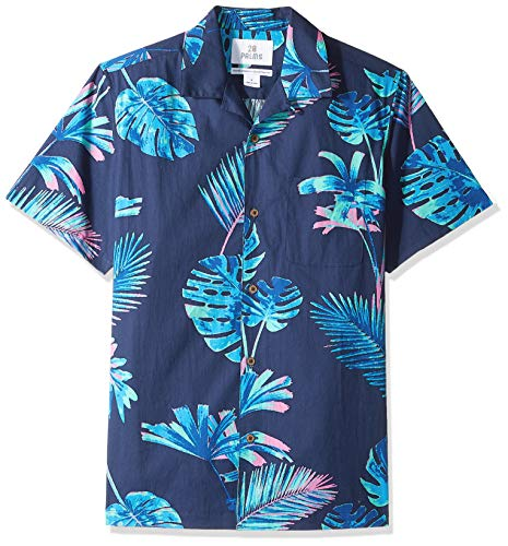 (28 Palms Men's Standard-Fit 100% Cotton Tropical Hawaiian Shirt, Neon Tropic Navy, Medium)