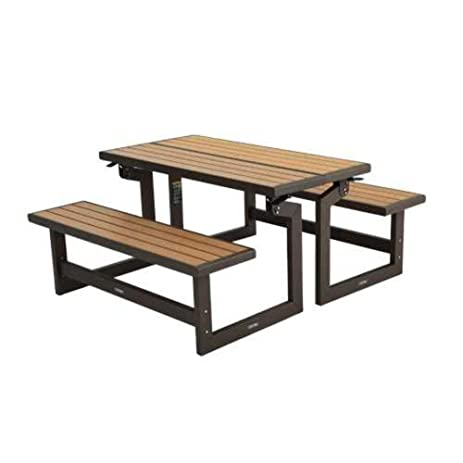 Wood Grain Convertible Bench Rust Resistant All Weather Fnish (Convertible  Bench Picnic Table