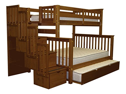 Bedz King Stairway Bunk Bed Twin over Full with 4 Drawers...