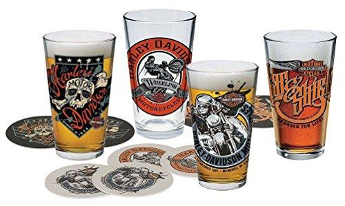 Harley-Davidson Free Wheeling Pint Glasses Set w/Coasters, 16 oz. HDL-18778