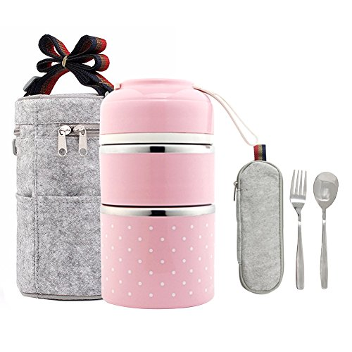 Stainless Steel Food Containers-Stacking 2 Tier Vacuum Lunch Box/Food Carrier/Bento/Food Container (Pink)
