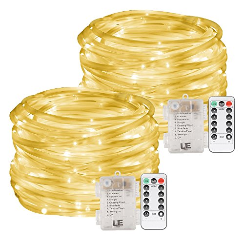 LE 33ft 120 LED Dimmable Rope Lights, Warm White Patio Light, Battery Powered, IP44 Water Resistant, 8 Modes/Timer, Outdoor Decoration Light for Garden, Party, Christmas and More, Pack of 2