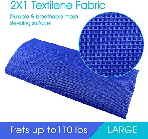 PHYEX Cama elevada portátil con marco de acero resistente para mascotas, cama elevada de refrigeración, 50.5 pulgadas de largo x 30.5 pulgadas de ancho x 7.8 pulgadas de alto (L, azul) 5