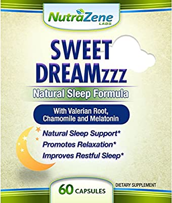 Sweet Dreamzzz - Natural Sleep Aid Supplement with Valerian Root, Melatonin, Chamomile, Hops Flower, Passion Flower & GABA - Non-Habit Forming Sleeping Pills -60 ct