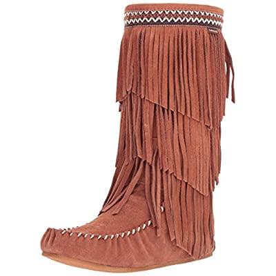 Lamo Women's Virginia Fringe Boot, Slouch Boots Calf -Chestnut | Mid-Calf