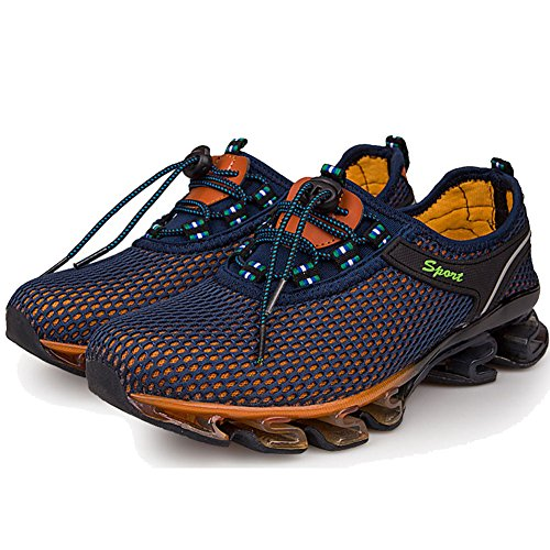 BE DREAMER Men's Lightweight Breathable Springblade Mesh Running Athletic Shoes,Navy Blue, US 11