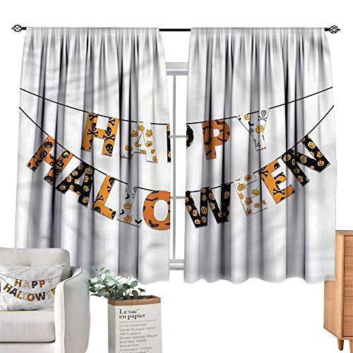 Mannwarehouse Classical Curtain Halloween Greetings Pumpkins Skull W63 xL45 Suitable for Bedroom,Living,Room,Study,etc. ()