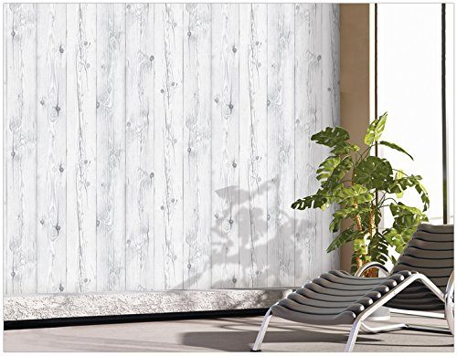 Best peel stick backsplash vintage white wood panel for Removable wallpaper wood paneling