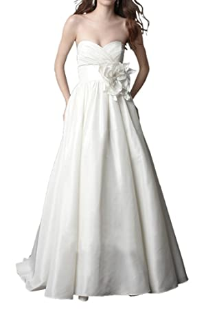 MILANO BRIDE Inexpensive Wedding Dress Evening Gown Strapless A-line Taffeta Flower-8-Light Ivory