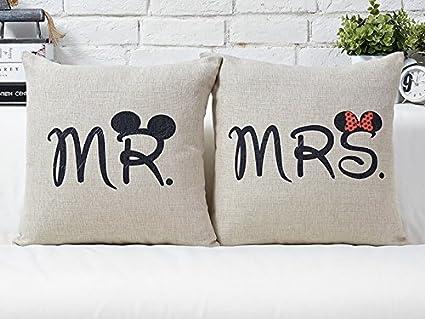 Cuscini Mr Mrs.Obeer Federe Per Cuscini Da Coppia Con Scritta Mr E Mrs