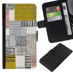 iBinBang / Flip Funda de Cuero Case Cover - Resumen Mostaza Amarilla Líneas cuadros - Sony Xperia Z2 D6502 D6503 D6543 L50t