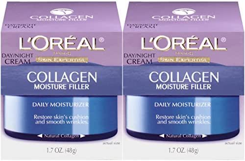 Collagen Face Moisturizer by L'Oreal Paris Skin Care I Day and Night Cream I Anti-Aging Face Cream to Smooth Wrinkles I Non-Greasy I 2 count