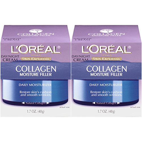 L'Oréal Paris Skincare Collagen Face Moisturizer, Day and Night Cream Collagen Moisture Filler, 2 count (Best Day And Night Cream For Sensitive Skin)