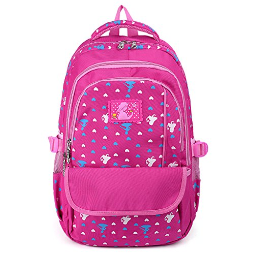 UTO Backpack Oxford Waterproof Cloth Nylon Child Teenager Rucksack Primary Junior Senior High School Bookbag Black Rosa Rosa