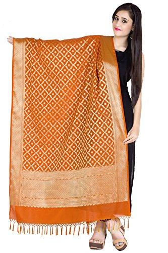 Chandrakala Women's Handwoven Orange Cutwork Brocade Banarasi Dupatta Stole Scarf,Free Size (D118ORA)