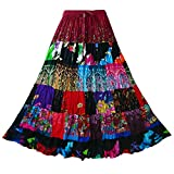 Pikulla Women Long Skirt Bohemian Gypsy Patchwork One Size SML Dark Tone