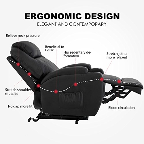 Mecor Electric Power Lift Recliner Chair Comfortable Leather for Elderly with Remote Control,Heavy Duty Reclining Machanism,Living Room Lounge Furniture Chair,Black