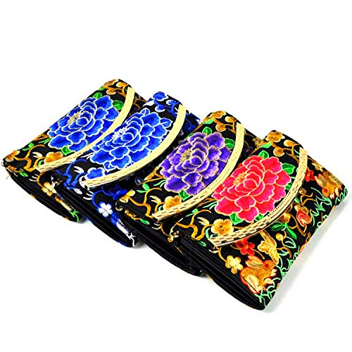 (Wallet embroidered box bag ethnic style craft wallet features hard wallet suction buckle wallet peony flower mixed)