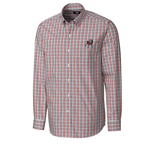 Cutter & Buck Embroidered Dress Shirt - Cutter & Buck UGA Dawg Gilman Plaid Long Sleeve Dress Shirt-Cardinal Red-XXL