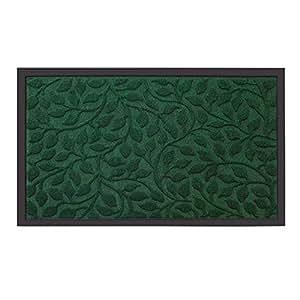"""Outside Shoe Mat Rubber Doormat for Front Door 18""""x 30"""" Outdoor Mats Entrance Waterproof Rugs Dirt Debris Mud Trapper Carpet for Patio Non Skid Doormats all Weather Exterior Door Mat Green"""