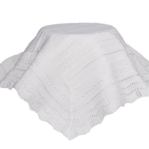 Little Things Mean A Lot Beautiful Acrylic Knit Baptism Special Occasion Shawl with Wave Patterns