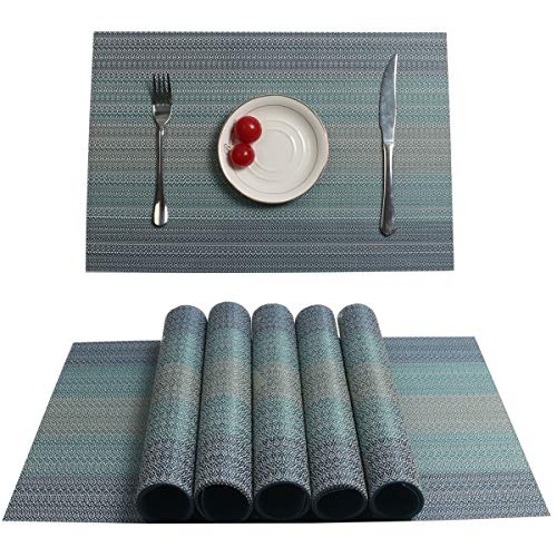 Pauwer Placemats Set of 6 Crossweave Woven Vinyl Placemat for Kitchen Table Heat Resistant Non-Slip Kitchen Table Mats Easy to Clean (Blue,Set of 6)