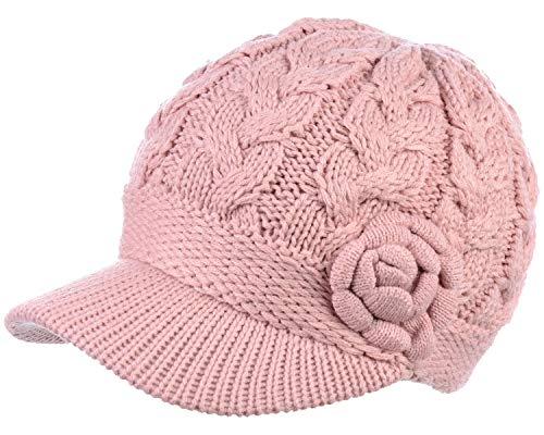 BYOS Womens Winter Chic Cable Warm Fleece Lined Crochet Knit Hat W/Visor Newsboy Cabbie Cap ()