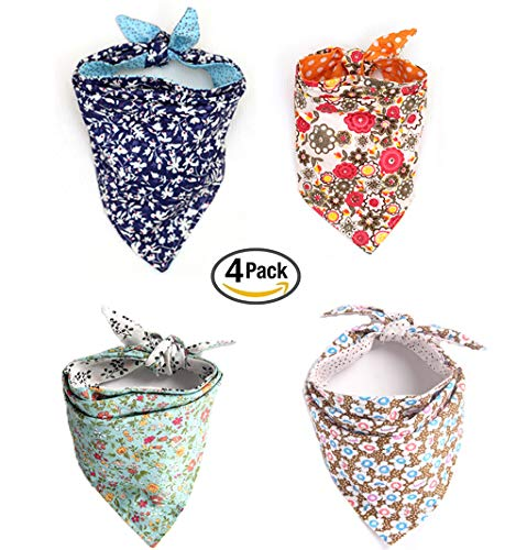 Combofix 4 Pack Cute Dog Bandana Multi Coloured Scarves Accessories for Pet Cats and Puppies ()