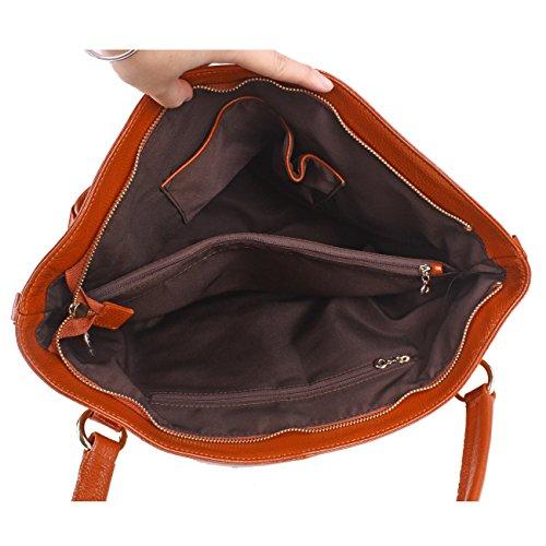 Ainimoer New Women's Soft Genuine Leather Euramerican Organizer Fashion Tote Top Handle Cross Body Shoulder Bag Messenger Satchel Shopping Bag Purse Handbag For Ladies(black) A5018-black