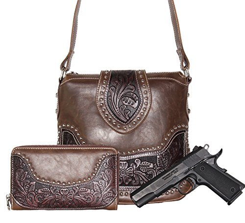 Handbags Womens Wholesale (Montana West Ladies Concealed Gun Carrying Messenger Purse Wallet Set Coffee)