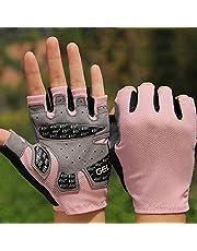 Fitness guantes de medio dedo for hombres, deportes deportivos, equipos de yoga, bicicleta giratoria, barra horizontal, barra, medio dedo antideslizante, transpirable ( Color : Pink , Size : XL )