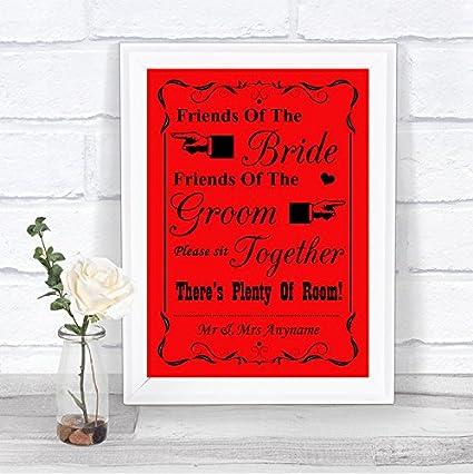 Red Friends Of The Bride, Friends Of Groom - Cartel de boda ...