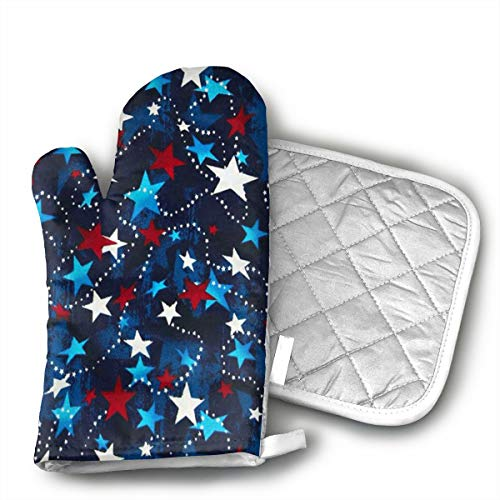 GUYDHL Unisex Oven Mitt and Pot Holder for Stars Red, White, Blue - 2 Pair
