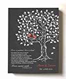 family room decorating ideas  - Custom Family Tree & Lovebirds, Stretched Canvas Wall Art, Make Your Wedding Memorable, Unique Decor, Color Gray # 1-30-Day - Size - 16x20
