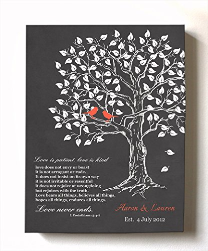 MuralMax - Personalized Anniversary Family Tree Artwork - Love is Patient Love is Kind Bible Verse - Unique Wedding & Housewarming Canvas Wall Decor Gifts - Color Gray # 1 - Size - 12x16 ()