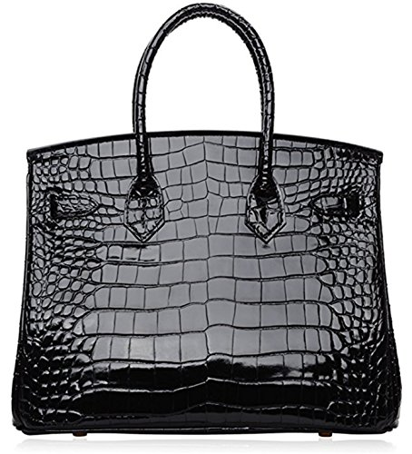 Handbags Crocodile Black Leather Bag Padlock Handle Top Women FqCYzwx1