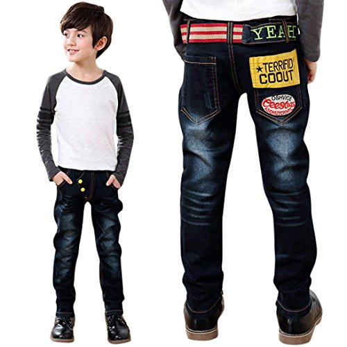 [Malltop Baby Kids Boys Letter Printing Jeans Belt Decor Elastic Denim Pants Trousers(3-8 Years) (140/6-7T,] (Halloween Cut Out Patterns For Pumpkins)