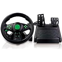 Huluda Volante para jogos 4 em 1 com pedais de rotação de 180° para volante de jogos XB 360/PS3/PS2/PC