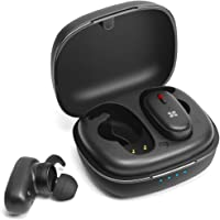 Promate True Wireless Earbuds Sport, Passive Noise Cancelation Bluetooth 5.0 Stereo Earphones with Built-In Mic and 470mAh Quick Charging Case, Sweat Resistance TrueBlue-3 Black