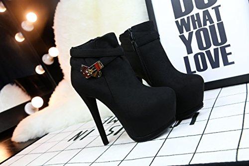 MAKEGSI Womens Metal buttons Martin Boots Pointed pumps shoes High heels Black s5ottxNPB