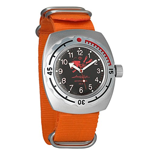 Automatic Orange Divers Dial (Vostok Amphibian Automatic Mens WristWatch Self-winding Military Diver Amphibia Case Wrist Watch #090657 Scuba Dude Black Dial (orange))