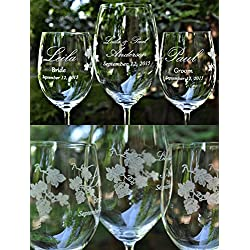 Crystal 3 Glass Wedding Unity Wine Glass Set Winery Wedding Art Personalized and Dated with Choice of Wooden Charms