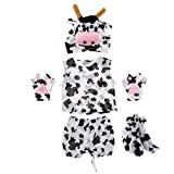 Prettyia Kids Animal Costume Set Giraffe Frog Cow Rabbit Bee Hat Top Shorts Gloves Shoes Party Halloween Dress up Unisex Outfit - Cow