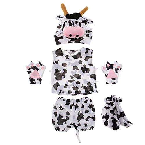 Prettyia Kids Animal Costume Set Giraffe Frog Cow Rabbit Bee Hat Top Shorts Gloves Shoes Party Halloween Dress up Unisex Outfit - Cow by Prettyia