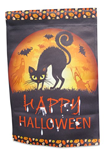 Halloween Garden Flag with Black Cat; true double sided Happy Halloween message readable both sides; 12 inches by 18 (Blackout Halloween)