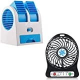 TECHPOOL Dual Bladeless Small Air Conditioner Water Cooler Powered by USB & Battery with USB Rechargeable Mini Fan Perfect for Dorm Study Library Games Room Outdoor or Office and Home (Multicolour)