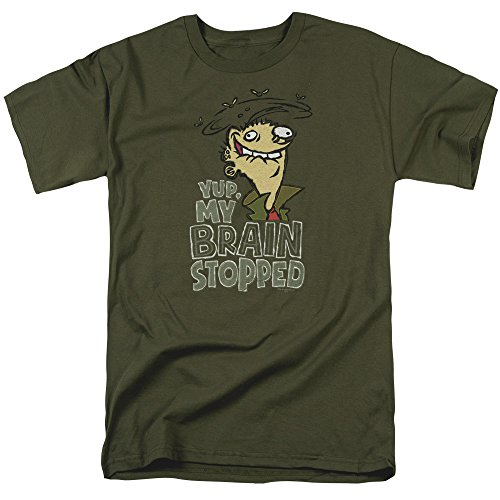 Trevco Men's Edd N Eddy Brain Dead Ed Adult T-Shirt, Military Green, Large